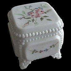 Westmoreland Glass Handpainted Victorian Trinket Box with Original Westmoreland Price Sticker