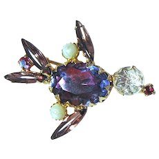 Beautiful Vintage Rhinestone Bird Brooch Pin