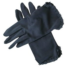 Vintage Ladies Black Daisy Trim Gloves