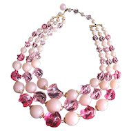 Germany Pink Triple Strand Necklace