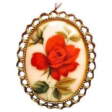 Porcelain Floral Transfer Brooch One Red Rose