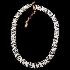 Vintage Monet Lacy White Enamel Necklace