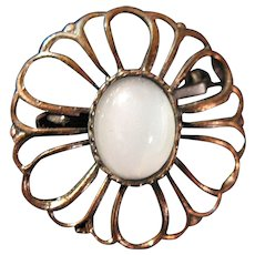 Antiqued Copper and Moonstone Pin Brooch