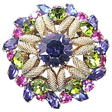 Gorgeous Austria Rhinestone Brooch Bold Trio of Colors