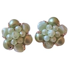Vintage Western Germany Pale Green Bead Earrings