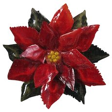 Resin Poinsettia Brooch Pin