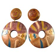 Inlaid and Handpainted Teak Wood Pierced Earrings
