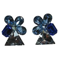 Chunky Blue Rhinestone Clip Earrings
