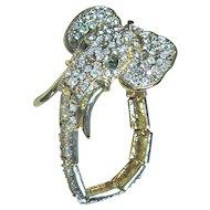 Vintage Figural Elephant Rhinestone Bracelet