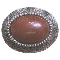 Polished Sard Chalcedony Quartz Brooch