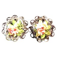Unusual Signed Alice Caviness Dried Flower Clip Earrings
