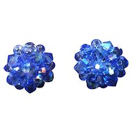 Blue Aurora Borealis Bead Clip Earrings
