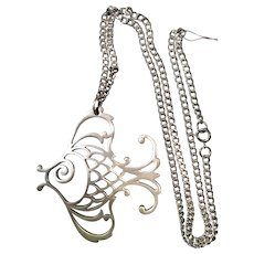 Reed and Barton Pewter Fish Pendant Necklace