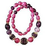 Vintage Purple Confetti Lucite Bead Necklace