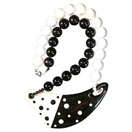 Dramatic Vintage Plastic Black and White Polka Dot Necklace