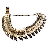 Vintage Coro Chevron Link Bracelet with Security Chain