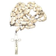 White Mother of Pearl Catholic Rosary Crucifix