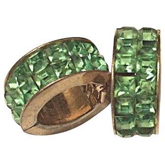 Green Channel Set Spring Action Hoop Earrings