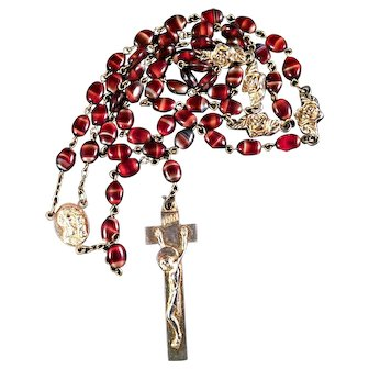 Rosary with Polished Beads Italy Crucifix Religious