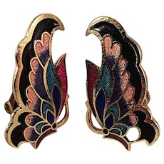 Vintage Cloisonne and Guilloche Butterfly Clip Earrings
