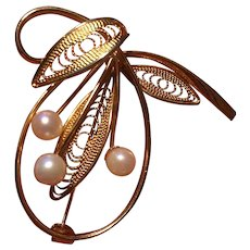 Brooch Original Curtis Creation 12KTGF Cultured Pearls and Wire