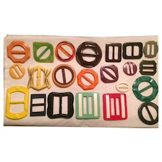 Collection of Vintage Plastic and Celluloid Buckles Carved and Shaped