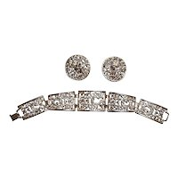 Sarah Coventry Lacy Brooch Earrings Set