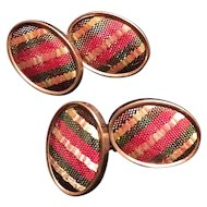 Vintage Striped Woven Cloth Cuff Links