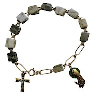 Religious Rosary Decade Bracelet Gray Green Stones