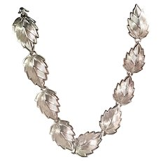 Vintage Volupte Link Necklace Silvertone Leaves