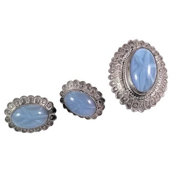 Vintage Oval Blue Glass and Stamped 800 Silver Brooch and Earrings Set Star Design