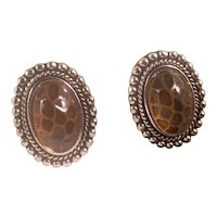 Vintage Lucite Tortoise Shell Design Clip Earrings