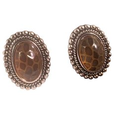 Vintage Lucite Tortoise Shell Design Clip Earrings