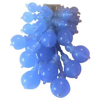Handstrung Miriam Haskell Blue Glass Bead Dress Clip
