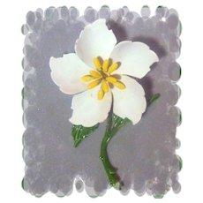 Vintage White Enamel Flower Pin Dimensional
