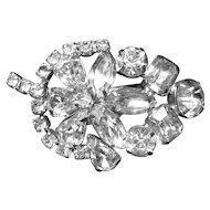 Vintage Diamante Rhinestone Leaf and Flower Brooch