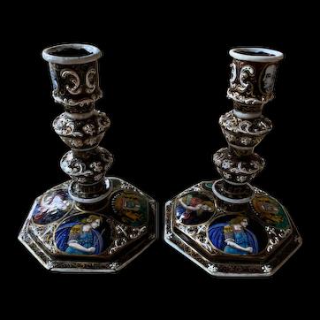Pair Limoges enamel candlesticks by Julien Robillard