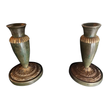Directoire Ormolu & Bronze candleholders