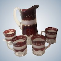 Antique 1909 State Fair Ruby Stained Cut Glass Pitcher and Four Cups