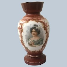 1800s Hand-painted Glass Vase