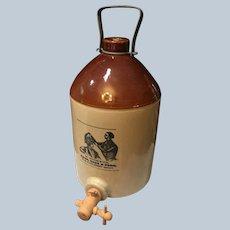 Antique Stoneware Advertising Jug Water Cooler With Spigot