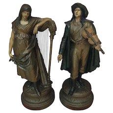 Pair of Auguste Moreau Bronze Statues