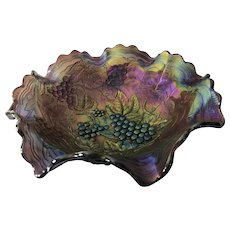 "Beautiful Carnival Glass Bowl   11"" x 3.75"" High"