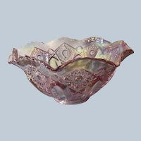 Beautiful Pink Iridescent/Carvival Glass Bowl