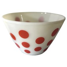 TWO Vintage 1960s Fire King Red Polka Dot Pyrex Mixing Bowls Ovenware