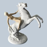 Beautiful Art Deco SchauBach Kunst Germany Porcelain Nude Horseback