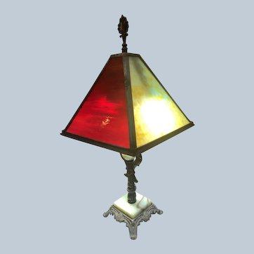 Bronze, Onyx, Slag Glass Lamp