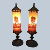 Classique Lamp Hand-painted Glass Cylindrical Boudoir Lamp
