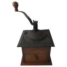 Early 1900s Coffee Mill Cast Iron and Wood
