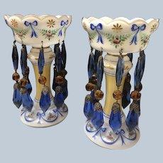 Czechoslovakian Glass Mantle Lusters